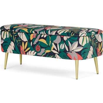Abel Storage Bench, Curator Floral Print & Brass Legs (H46 x W111 x D41cm)