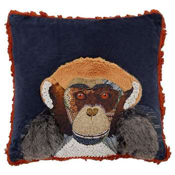 Abigail Ahern/EDITION Navy chimpanzee applique feather filled cushion (52 x 52cm)