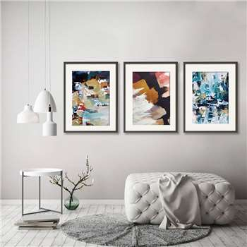 Abstract Art Prints Set Of Three Wall Art, A5, Unframed (H21 x W15cm)