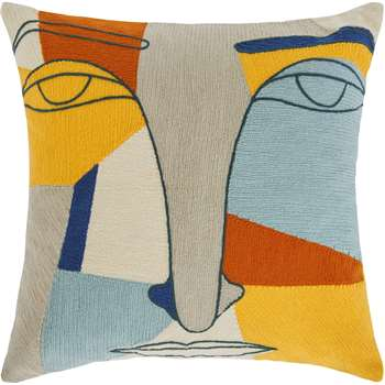 Abstract Face Embroidered Cushion, Multi (40 x 40cm)
