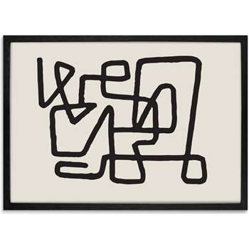 Abstract Knot Framed A1 Wall Art Print, Black & Cream (H86 x W61 x D2cm)