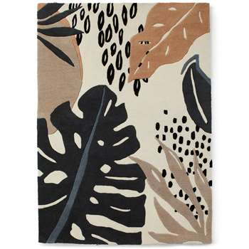 Abstract Leaf Carved Rug, Neutral (H120 x W170cm)
