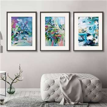 Abstract Wall Art Prints Set Of Three, A5, Unframed (H21 x W15cm)