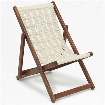 Acacia Macrame Folding Chair - Cream (94 x 88cm)