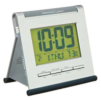 Acctim Apex Smartlite® LCD Alarm Clock, Silver (H11 x W12.5 x D7cm)
