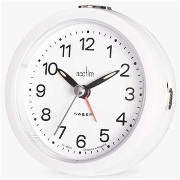 Acctim Elana Sweep Alarm Clock, White (H8.8 x W8.6 x D7.2cm)
