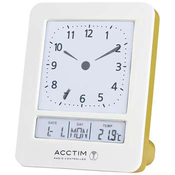 Acctim Fontana Radio Controlled Digital Dual Alarm Clock, White (H9.2 x W7.2 x D4.4cm)