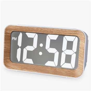 Acctim Larsen Smartlite® LCD Alarm Clock, Oak (H7.5 x W13.6 x D5.7cm)