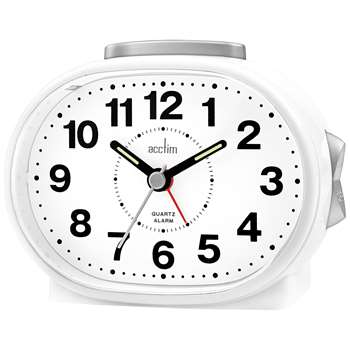Acctim Lila Sweep Alarm Clock, White (H8.6 x W16.9 x D3.8cm)
