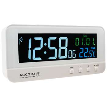 Acctim Radio Controlled LCD Alarm Clock, White (H6.6 x W13.8 x D3.2cm)
