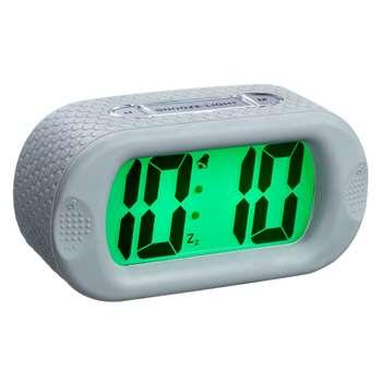 Acctim Silicone Jumbo LCD Smartlite® Alarm Clock, Grey (H7 x W14 x D5cm)