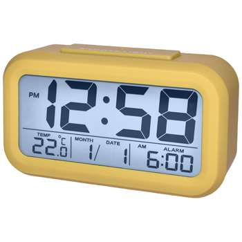 Acctim Silo Silicone Smartlite® LCD Alarm Clock, Mustard (H7.4 x W13.2 x D4.4cm)