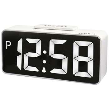 Acctim Talos USB Smart Connector® LED Digital Alarm Clock, White (H10.3 x W22 x D5.2cm)