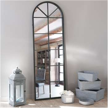 ACHILLE metal mirror in black H 180cm