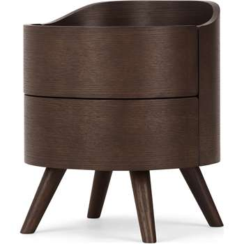 Ada 2 Drawer Bedside Table, Dark Stain Oak (H50 x W42 x D41cm)