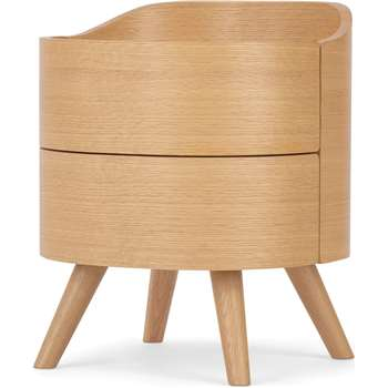 Ada 2 Drawer Bedside Table, Oak (H50 x W42 x D41cm)