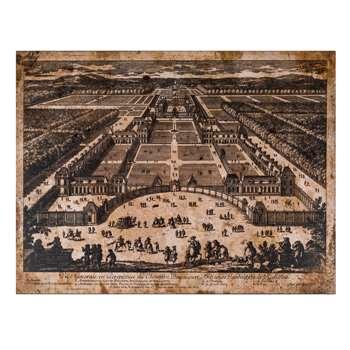 Adam Perelle - Veüe generale en Perspective du Château Bassecourt, Anticours, Jardins de Richelieu (60 x 80cm)