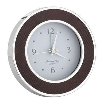 Addison Ross - Circular Silver Alarm Clock - Faux Snake - Coffee (Diameter 10cm)
