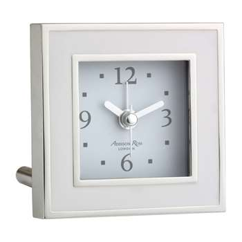 Addison Ross - Square Alarm Clock - White Enamel (H8 x W8cm)