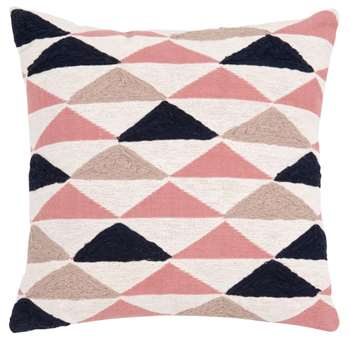 ADELE - Pink, Blue and Ecru Cotton Cushion Cover with Graphic Print (H40 x W40cm)