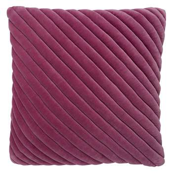 Adelie Purple Ribbed Velvet Cushion (H50 x W50cm)
