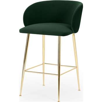 Adeline Counter Height Bar Stool, Pine Green Velvet & Brass (H88 x W54 x D55cm)