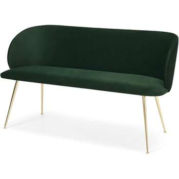 Adeline Dining bench, Pine green velvet and Brass (H78 x W140 x D60cm)