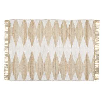 ADELRIA - Jute and Cotton Rug with Graphic Print and Fringing (H160 x W230 x D2cm)