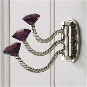 Adjustable Triple Hooks With Purple Glass Knobs (H8 x W4.5 x D16cm)