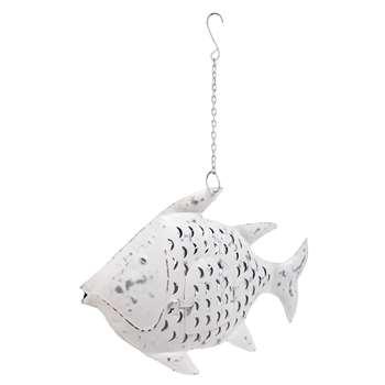 ADRIATIQUE patinated white metal fish lantern (38 x 59cm)
