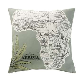 AFRICA Khaki Outdoor Cushion with Map Print (H45 x W45 x D10cm)
