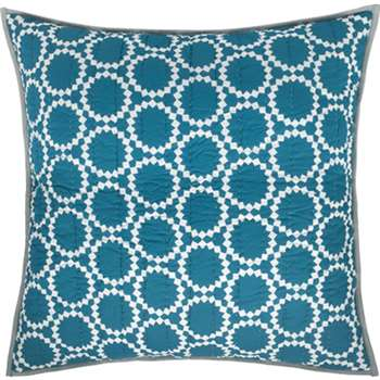 Agadir Cotton Reversible Cushion, Teal and Saffron Yellow (H60 x W60cm)