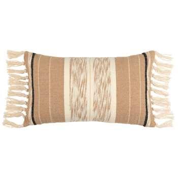 AGAPI - Patterned Ecru, Black and Beige Cotton Cushion Cover (H30 x W50cm)