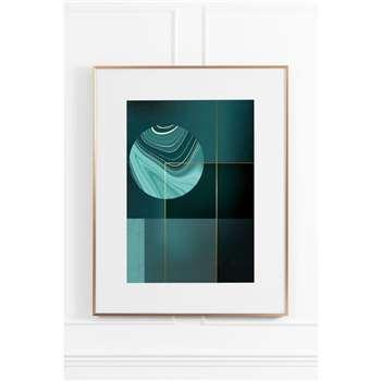 Agate Green No.2 - Brass Frame (H90 x W70cm)