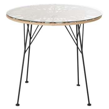 AGATHA Round Resin Faux Rattan 2-Seater Garden Table (H74 x W80 x D80cm)