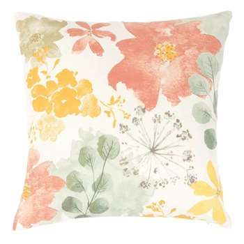 AGAZZI - White Cotton Cushion Cover with Multicoloured Print (H40 x W40cm)