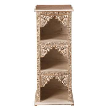 AGRA Bleached And Carved Mango Wood Shelf (88 x 36cm)