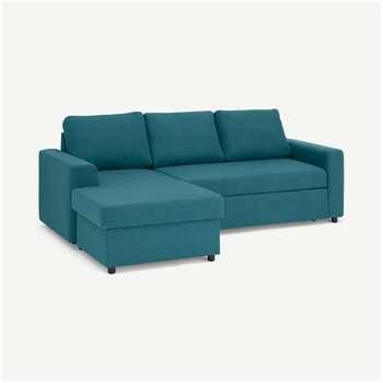Aidian Corner Storage Sofa Bed, Mineral Blue (H90 x W243 x D157cm)
