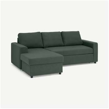 Aidian Corner Storage Sofa Bed, Woodland Green (H90 x W243 x D157cm)