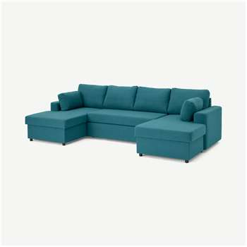 Aidian Large Corner Sofa Bed with Storage, Mineral Blue (H90 x W311 x D157cm)