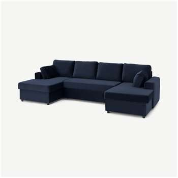 Aidian Large Corner Sofa Bed with Storage, Regal Blue Velvet (H90 x W311 x D157cm)