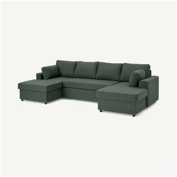 Aidian Large Corner Sofa Bed with Storage, Woodland Green (H90 x W311 x D157cm)