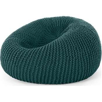 Aki 100% Wool Knitted Cocoon Bean Bag, Teal Green (H75 x W75 x D75cm)
