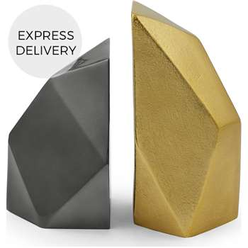 Akimbo Metallic Faceted Bookends, Brass and Gunmetal (H17 x W8cm)