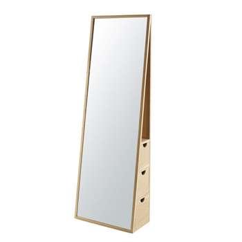 AKSEL - 3-Drawer Oak Cheval Mirror (H165 x W55 x D28cm)