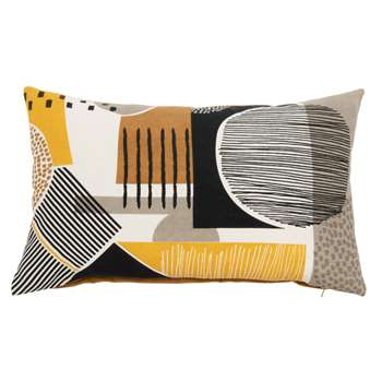ALABAMA - Multicoloured Cotton Cushion Cover with Graphic Prints (H30 x W50cm)