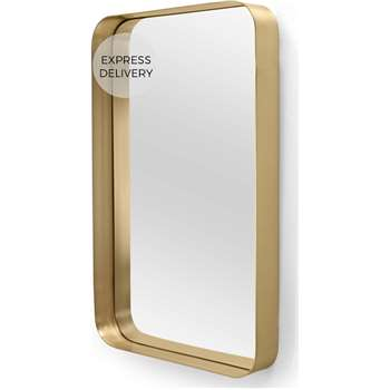 Alana Rectangular Mirror Extra Large, Brushed Brass (H100 x W70 x D10cm)