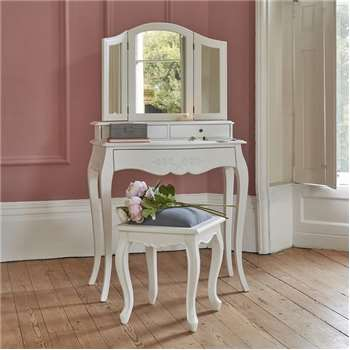 Alba White Dressing Table and Mirror (H145 x W80 x D40cm)