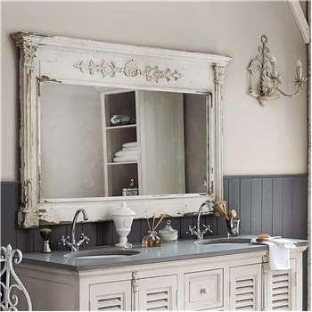 ALBANE wooden mirror, white H 97cm