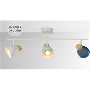 Albert Ceiling Spotlight Bar, Duck Egg, Muted Grey and Dusk Blue (H30 x W85 x D15cm)